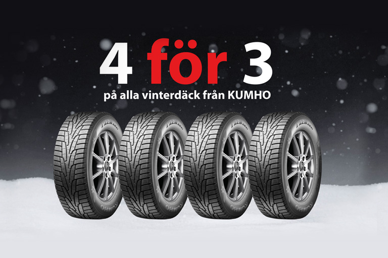 4 för 3 på alla vinterdäck från KUMHO!