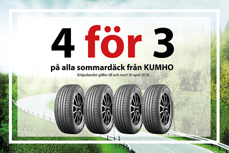 4 för 3 på sommardäck från KUMHO
