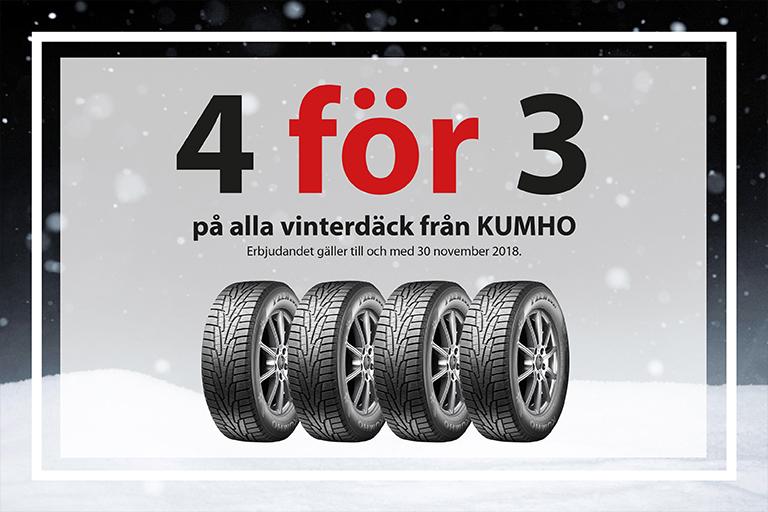 4 för 3 på alla vinterdäck från KUMHO